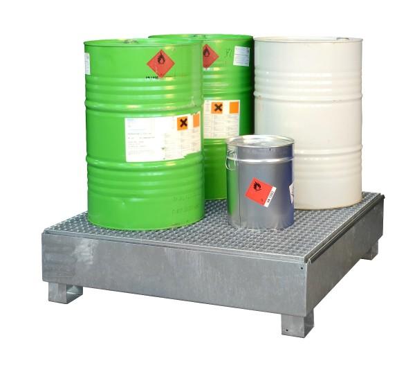 Auffangwanne Stahl verzinkt für 4 Fässer à 200 l